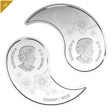 1 oz. Pure Silver Coloured Coins - Yin and Yang: Tiger and Dragon - Mintage: 6,000 (2018)