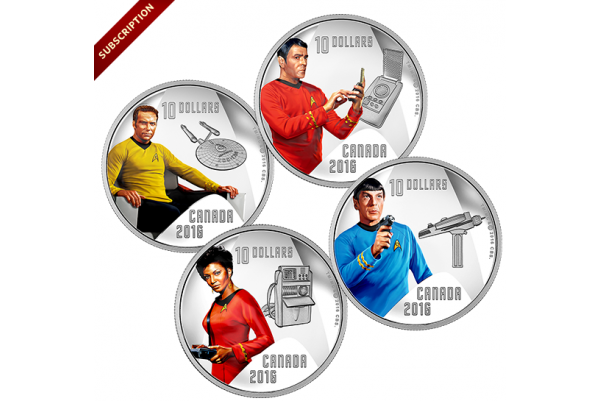1/2 oz. Pure Silver Coloured 4-Coin Subscription – Star TrekTM Crew (2016)