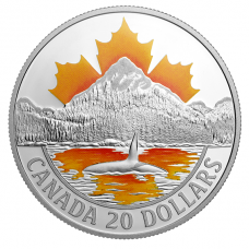 1 oz. Pure Silver Coloured Coin - Canada's Coast Series: Pacific Coast - Mintage: 7,500 (2017) No. 161310
