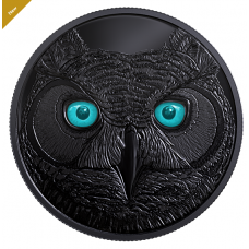 Pure Silver Glow-in-the-Dark Coin - In The Eyes Of The Great Horned Owl - Mintage: 6,500 (2017)