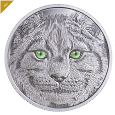 Pure Silver Glow-in-the-Dark Coin - In The Eyes Of The Lynx - Mintage: 6,500 (2017)