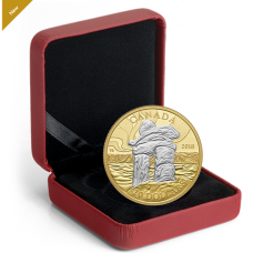 1 oz. Reverse Gold-Plated Pure Silver Coin - Iconic Canada: Inukshuk - Mintage: 5,000 (2018)
