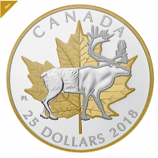 1 oz. Pure Silver Gold Plated Piedfort - Timeless Icons: Caribou - Mintage: 7,500 (2018)