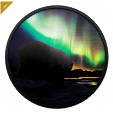 2 oz. Pure Silver Glow-in-the-Dark Coin - Arctic Animals and Northern Lights: Polar Bear - Mintage: 4,000 (2018)
