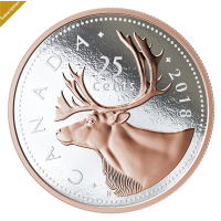 2018 Big Coin Series: 25-Cent Piece - 5 oz. Pure Silver Coin with Rose Gold Plating - Mintage: 1,500 (2018)