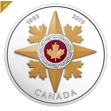 1 oz Pure Silver Coloured Coin - Canadian Honours: 25th Anniversary of the Star of Military Valour - Mintage: 5,500 (2018) No. 164525