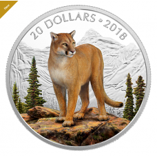 1 oz. Pure Silver Coloured Coin - Majestic Wildlife: Courageous Cougar - Mintage: 6,000 (2018)