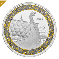 1 oz. Pure Silver Coloured Coin - Norse Figureheads: Dragon's Sail - Mintage: 6,000 (2018)