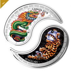 1 oz. Pure Silver Coins - Black and White Yin and Yang: Tiger and Dragon - Mintage: 6,000 (2018) No.65868