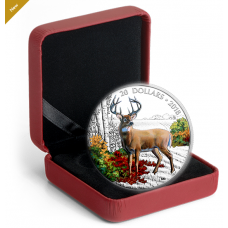 1 oz. Pure Silver Coloured Coin - Majestic Wildlife: Wandering White-tailed Deer - Mintage: 6,000 (2018)