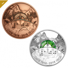 2 oz. Pure Silver Coin and Bronze Medallion Set - 100th Anniversary of the Canadian National Institute for the Blind - Mintage: 3,000 (2018)