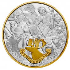 1 oz. Pure Silver Gold-Plated Coin - First World War Allies: Newfoundland - Mintage: 5,000 (2018) No. 166174