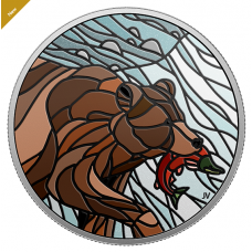 1 oz. Pure Silver Coin - Canadian Mosaics: GRIZZLY BEAR  - Mintage: 6,000 (2018) No. 166641