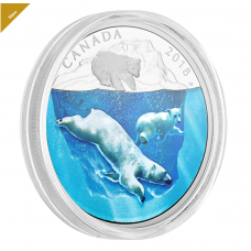 2 oz. Pure Silver Coin - Dimensional Nature: Polar Bears  - Mintage: 3,000 (2018) No. 168155