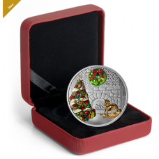 1 oz. Pure Silver Coloured Coin - Murano Holiday Wreath - Mintage: 5,000 (2019) No. 169231