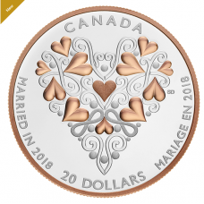2018 Best Wishes On Your Wedding Day - 1 oz. Pure Silver Coin with Pink Gold Plating No. 163731