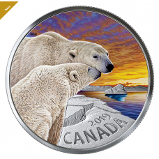 1 oz. Pure Silver Coloured Coin - The Polar Bear: Canadian Fauna - Mintage: 4,000 (2019) No. 170781 A.P.Impex ap-impex