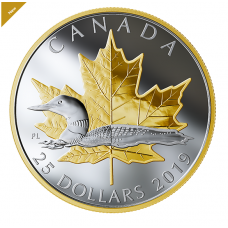 1 oz. Pure Silver Gold Plated Piedfort - Timeless Icons Loon - Mintage 7,000 (2019) No. 170032 A.P.Impex ap-impex.com